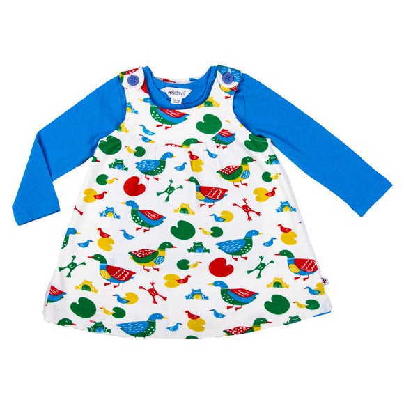 Duck Print Pinafore Dress Set - Lollidays Baby & Kids Clothing