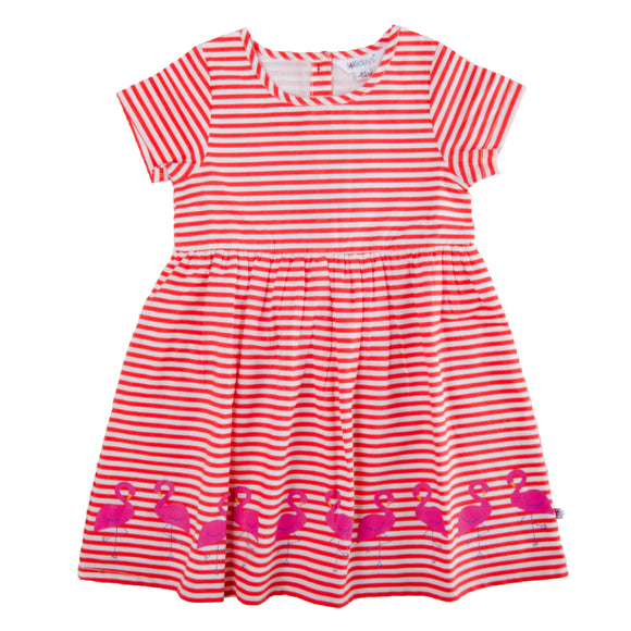 Flamingo Stripe Dress - Lollidays Baby & Kids Clothing