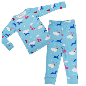 Magical Unicorn Light Blue PJ Set - Lollidays Baby & Kids Clothing