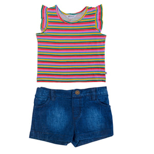 Organic Denim Shorts &  Matching Tee - Lollidays Baby & Kids Clothing