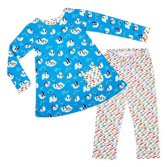 Penguin Print Tunic Dress Set - Lollidays Baby & Kids Clothing