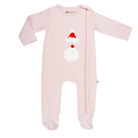 Christmas Santa Baby Pink Sleepsuit - Lollidays Baby & Kids Clothing