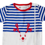 Christmas Reindeer Navy Blue Sleepsuit - Lollidays Baby & Kids Clothing
