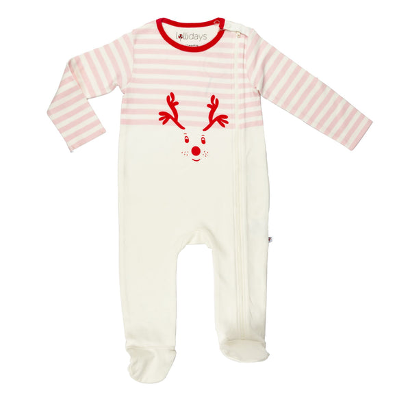 Christmas Reindeer Baby Pink Sleepsuit - Lollidays Baby & Kids Clothing