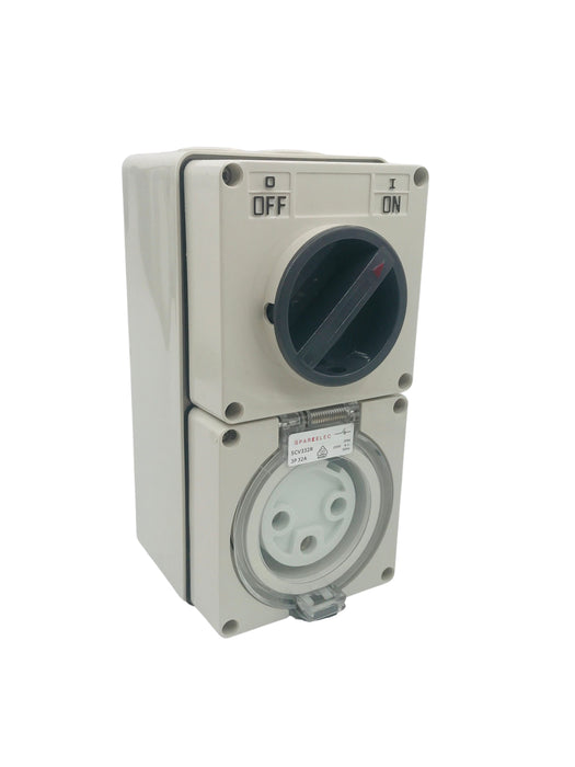 SPARKELEC - 3 Pin 32amp  Single Phase , Combination  Socket,  IP66