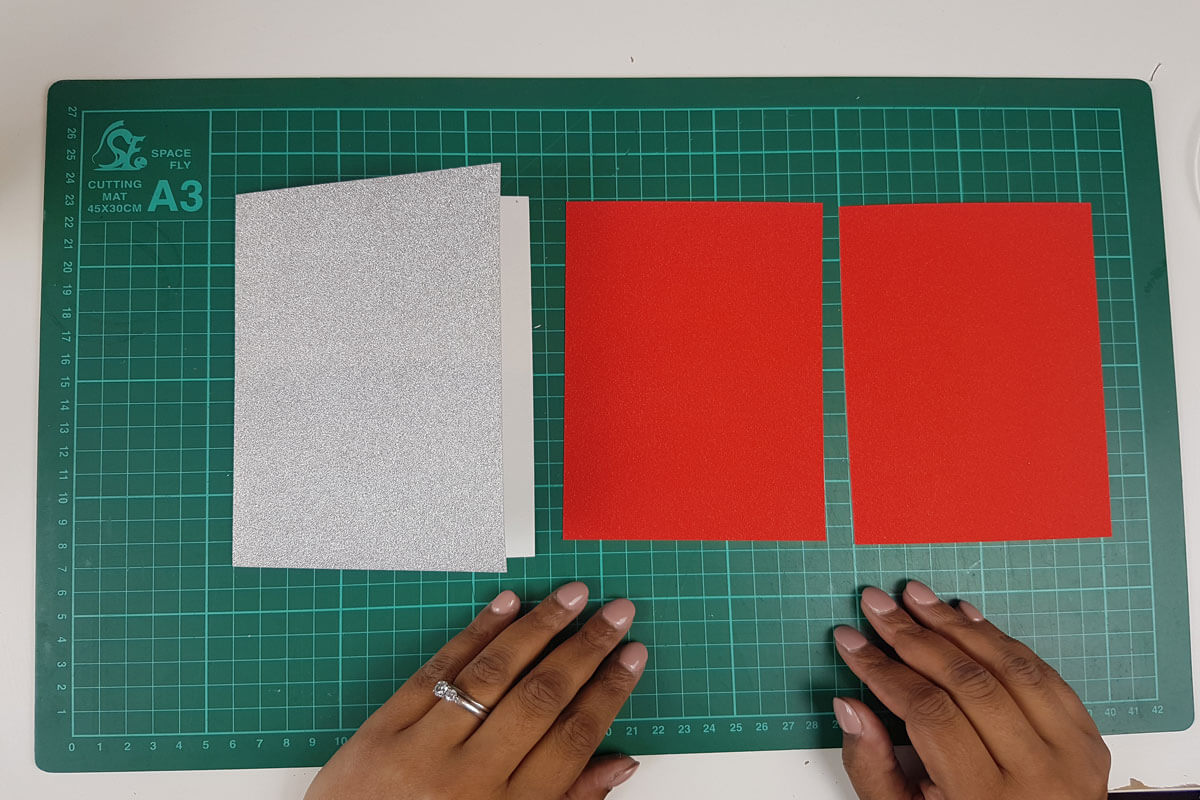 How To Make a 3D Christmas Pop Up Card - picture cardstock used for the inner cover