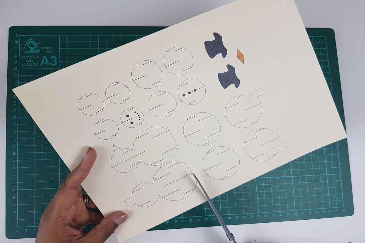 How To Make a 3D Christmas Pop Up Card - picture of template containing the pieces for the snowman card