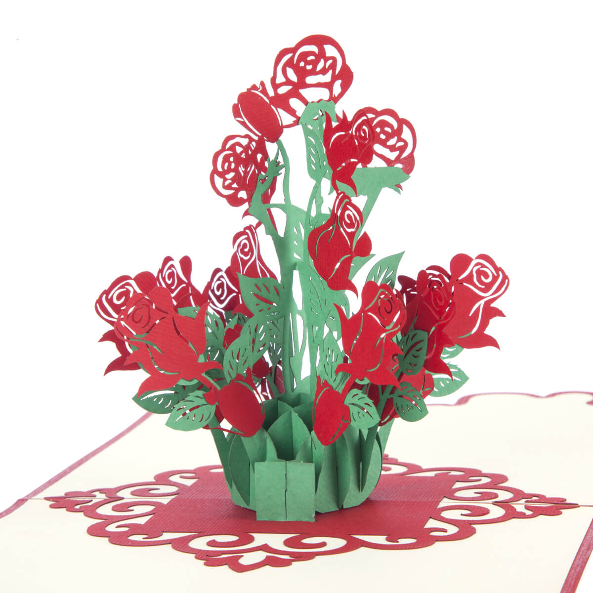 Close up image of Cardology Bouquet Of Roses Pop Up Card