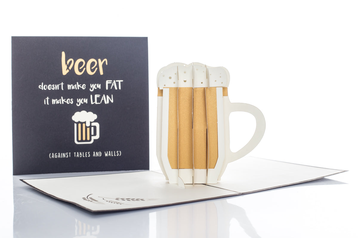 "Fathers Day Card featuring a pint of Beer Pop Up Card with cover reading ""Beer Doesn't Make You Fat...It Makes You Lean...(against tables and walls)"""