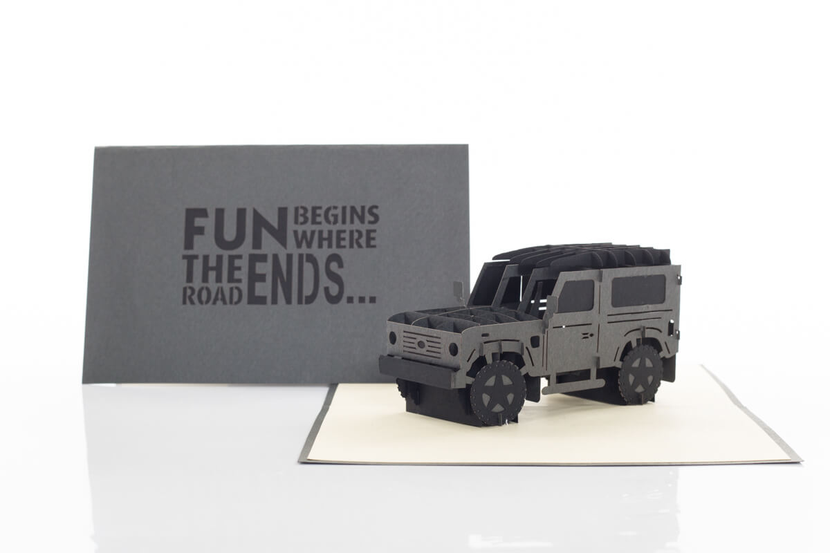 "Fathers Day Pop Up Card featuring a pop up Land Rover with cover reading ""Fun Begins Where The Road Ends"""
