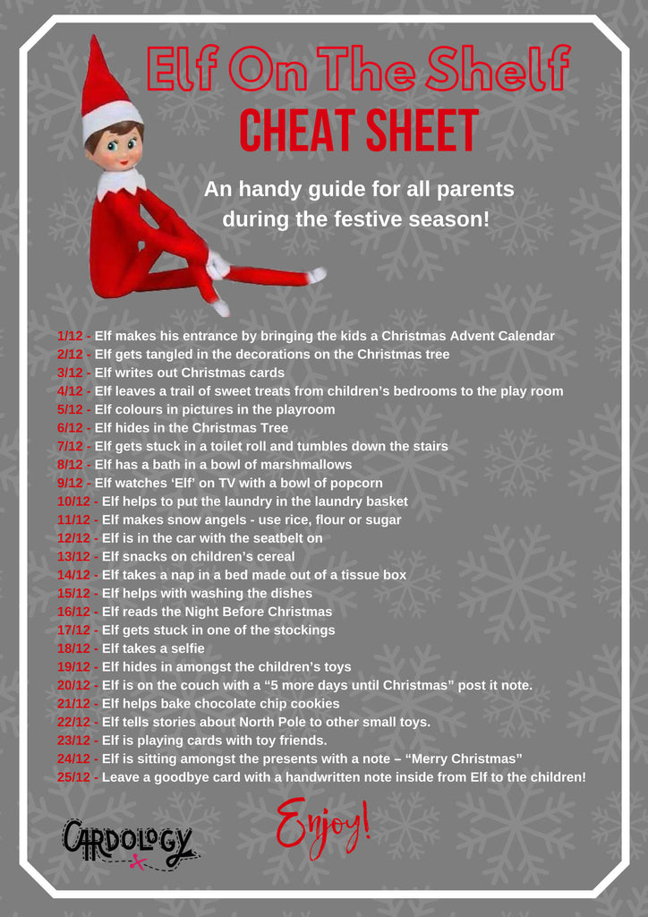 Elf On The Shelf Cheatsheet