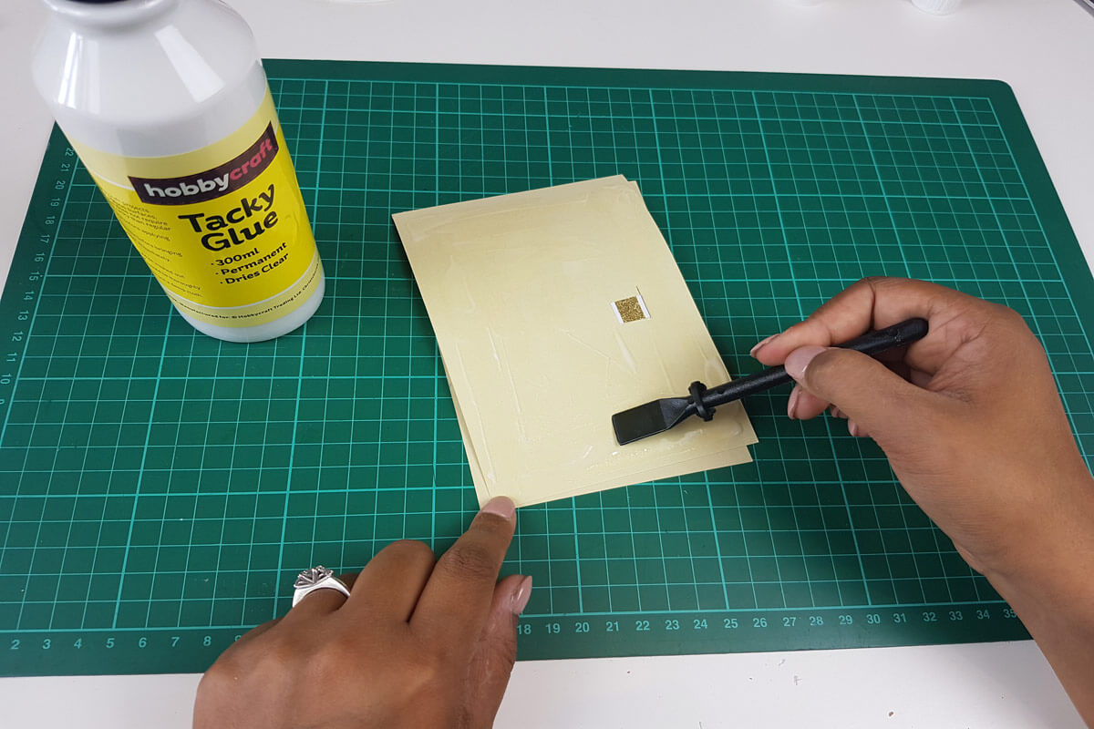 How To Make A Christmas Pop Up Card Tutorial - picture of gluing the inner cover to the outer cover