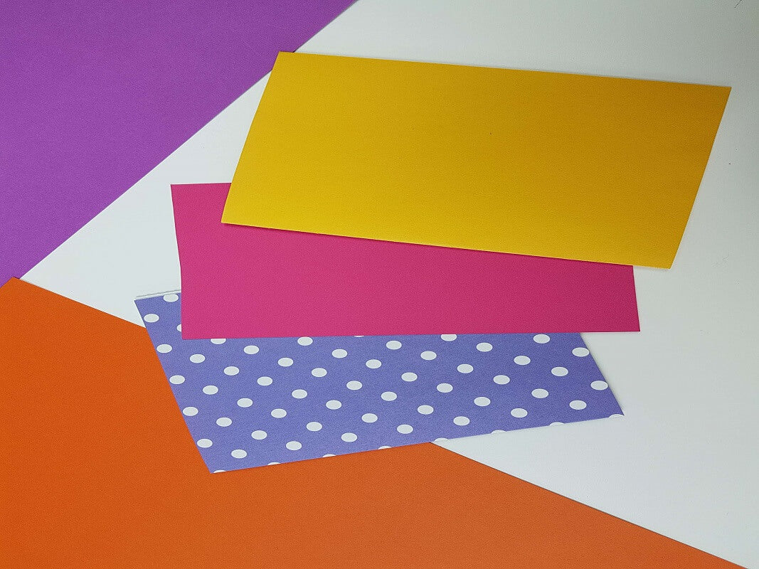 how to make a birthday pop up card tutorial - picture showing coloured cardstock used to make this pop up card