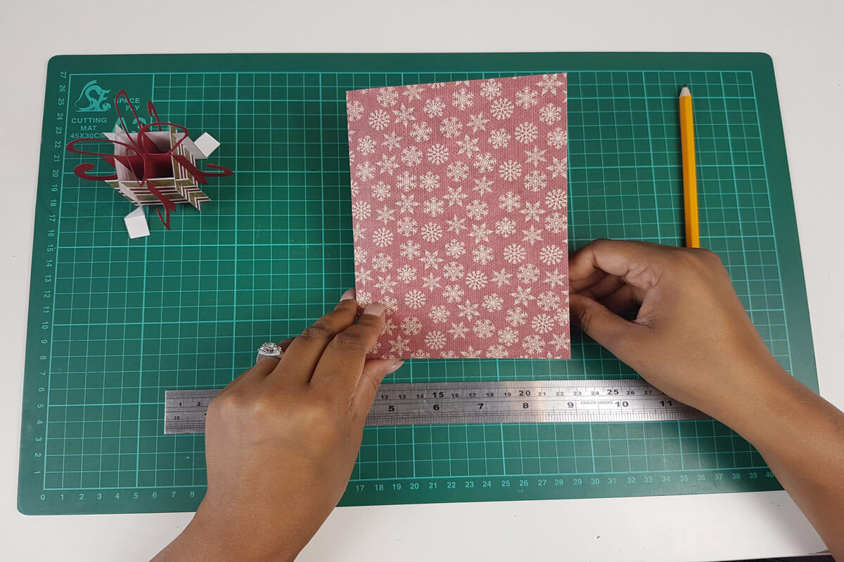 How To Make A Christmas Pop Up Card Tutorial - picture of cardstock for the cover of the card