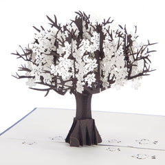 Close up image of Silver Anniversary Pop Up Card which opens up to a 3D tree with silver leaves