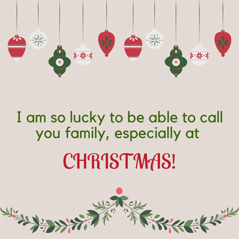 Christmas message for family: I'm so lucky to be able to call you family, especially at Christmas