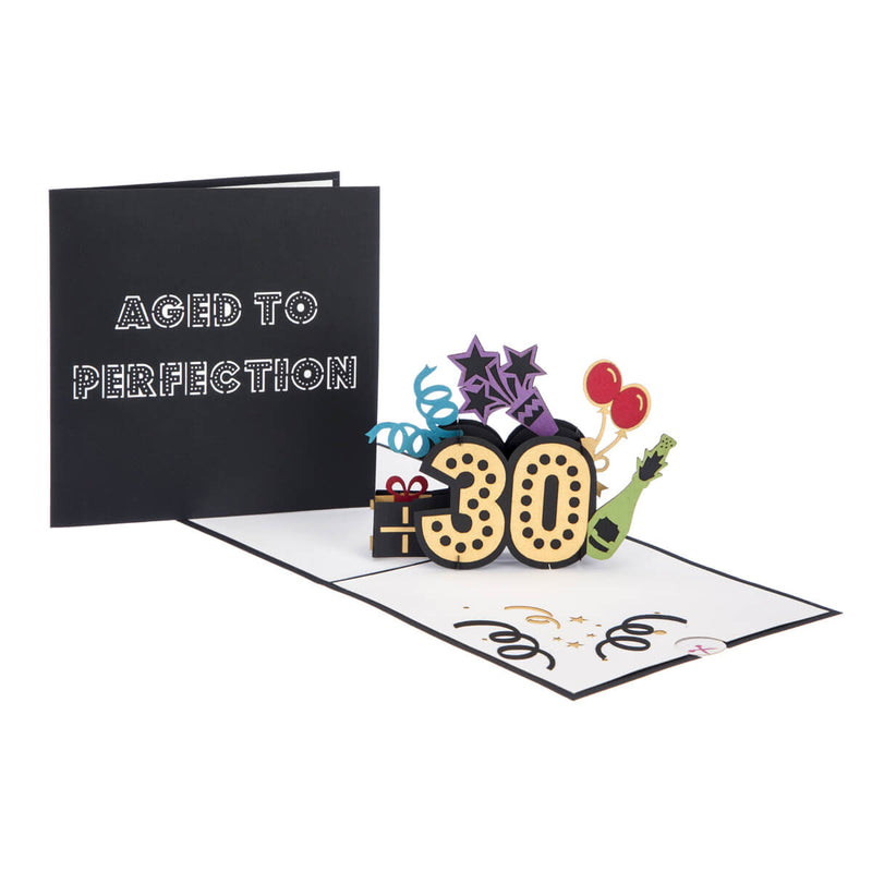 30th Birthday Pop Up Card fully open with cover image behind