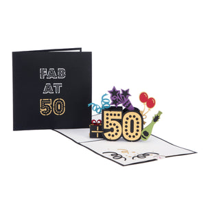 50th birthday pop up card fully open with cover image behind it