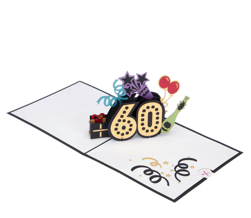 60th birthday pop up card full open at 180 degrees