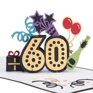 Close up image of colourful 60th birthday pop up card