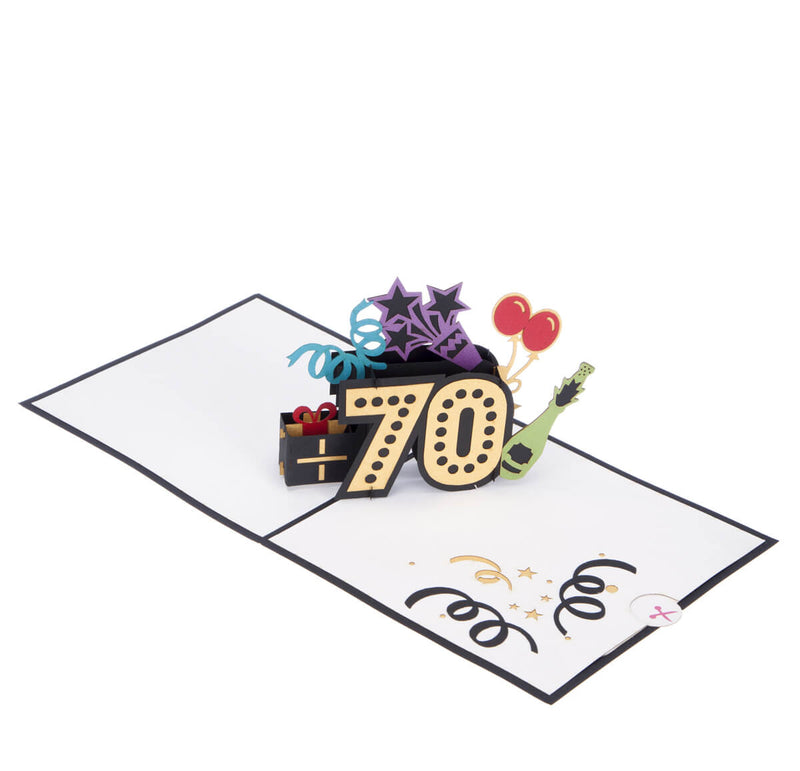 70th birthday pop up card full open at 180 degrees