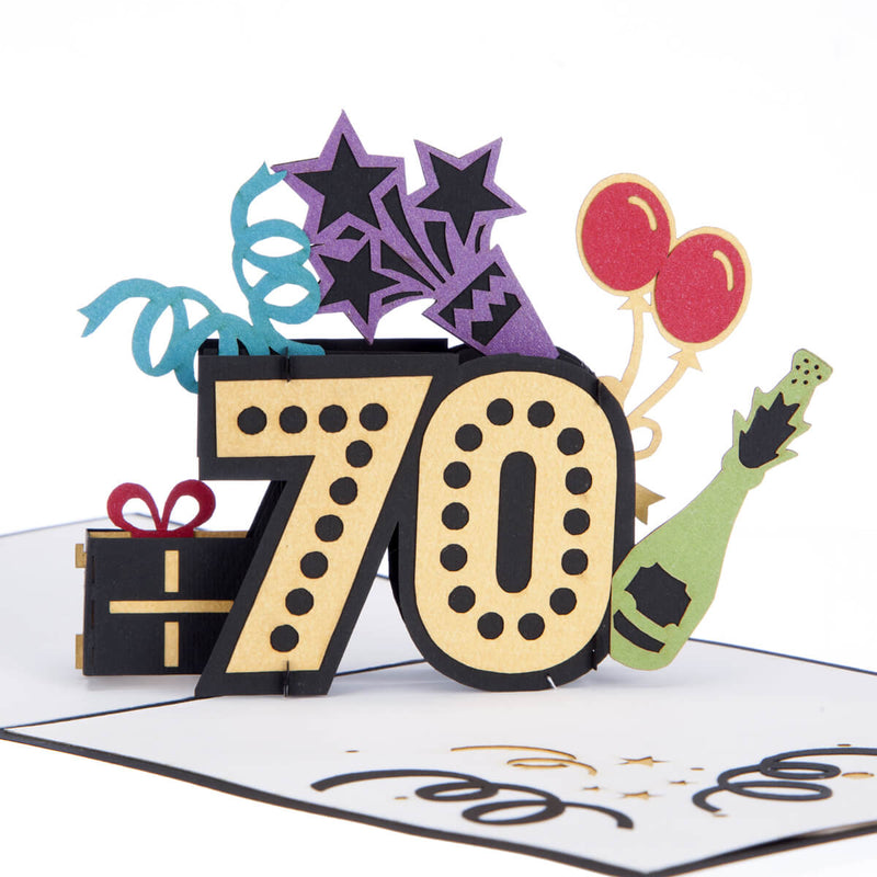 close up image of colourful pop up 70th birthday card