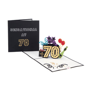 70th birthday pop up card fully open with cover image behind