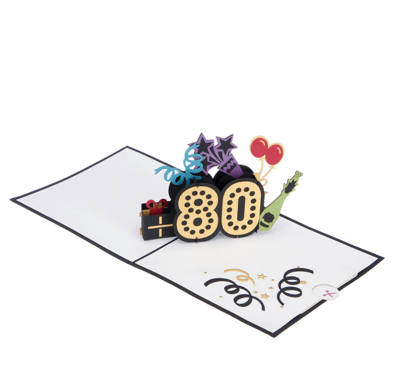 80th birthday pop up card fully open at 180 degrees