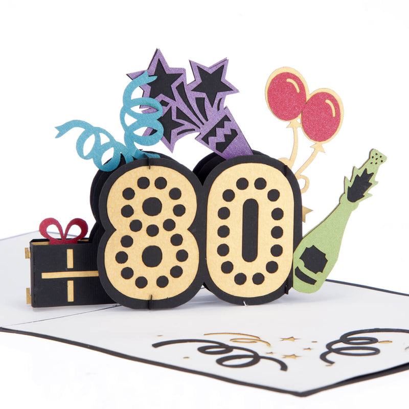 close up image of colourful 80th birthday pop up card