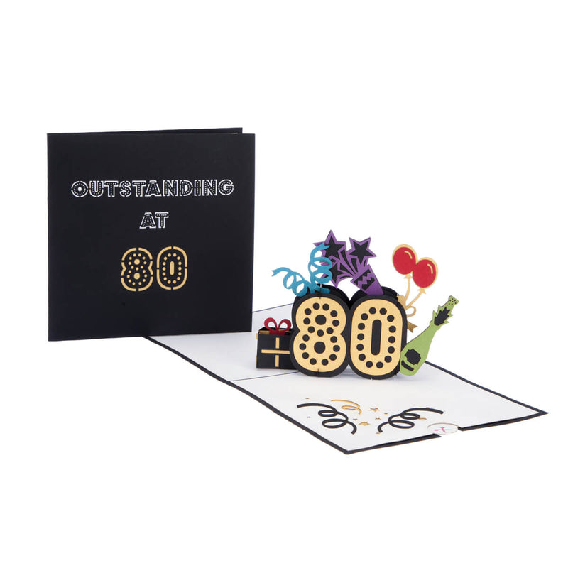 80th birthday pop up card fully open with cover image behind it