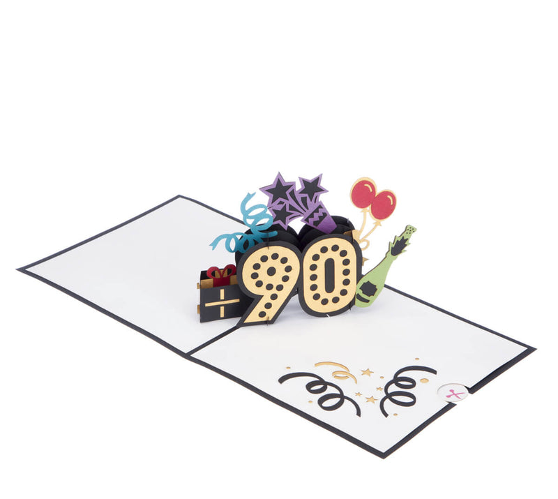 Image of 90th Birthday Card for men and women, fully open at 180 degrees on a white surface