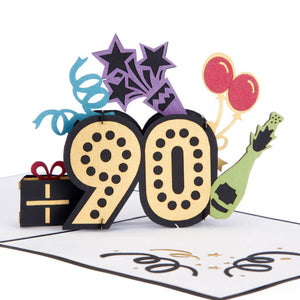 Close up image of 90th Birthday Pop Up Card