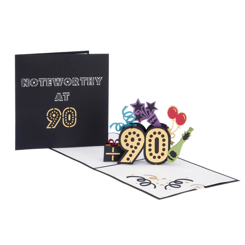 Image of 90th Birthday Card for men and women, fully open with cover behind