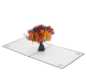 Orange, Yellow and Red Autumn Tree Pop Up Card fully open at 180 degrees angle