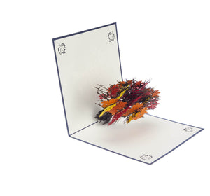 Orange, Yellow and Red Autumn Tree Pop Up Card half open at 90 degrees angle
