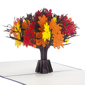 close up image of red, yellow and orange Autumn Tree pop up card