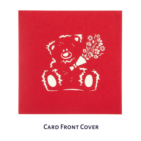 Bear With Flowers Pop Up Card