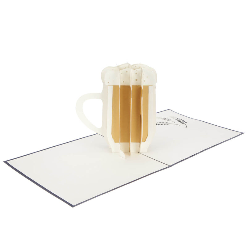 beer pop up card with 3D beer stein fully open at 180 degrees