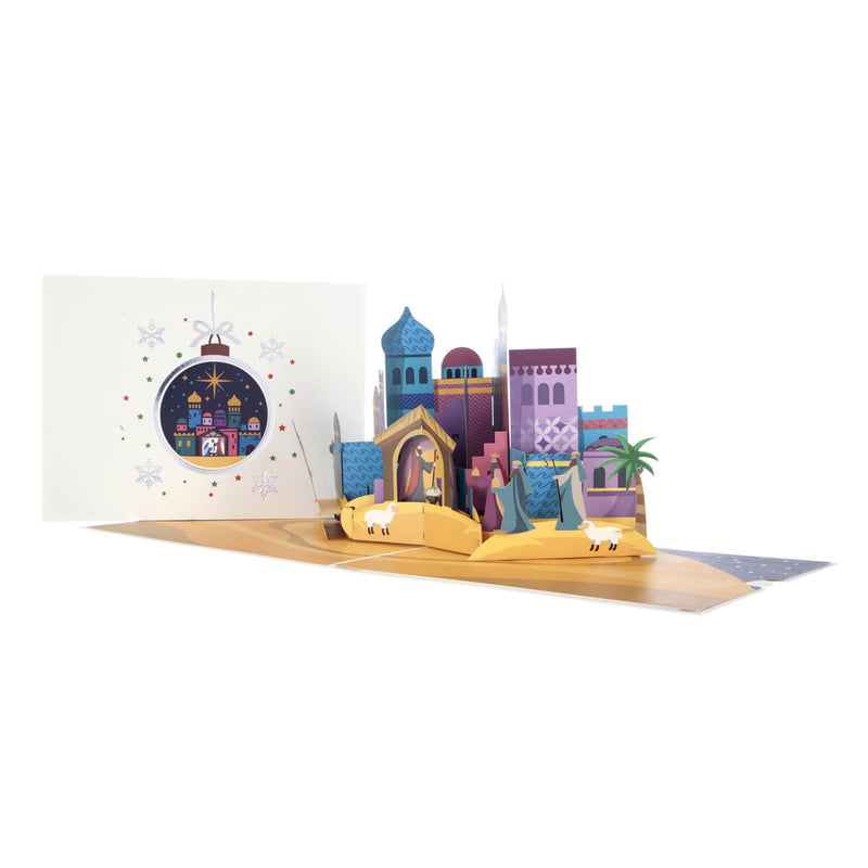 Bethlehem Nativity Pop Up Christmas Card - Card fully open at 180 degrees with cover behind