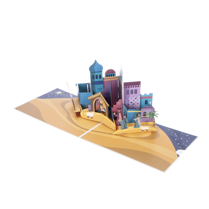 Bethlehem Nativity Pop Up Christmas Card - Fully Open at 180 Degrees