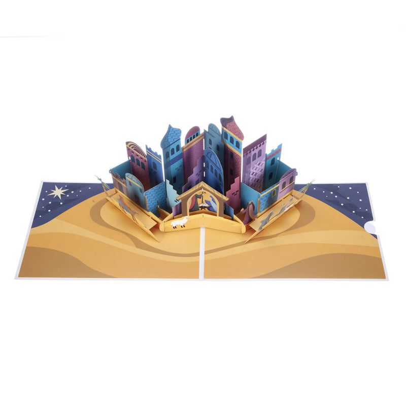 Bethlehem Nativity Pop Up Christmas Card - Card Fully Open On White Background - View From Above