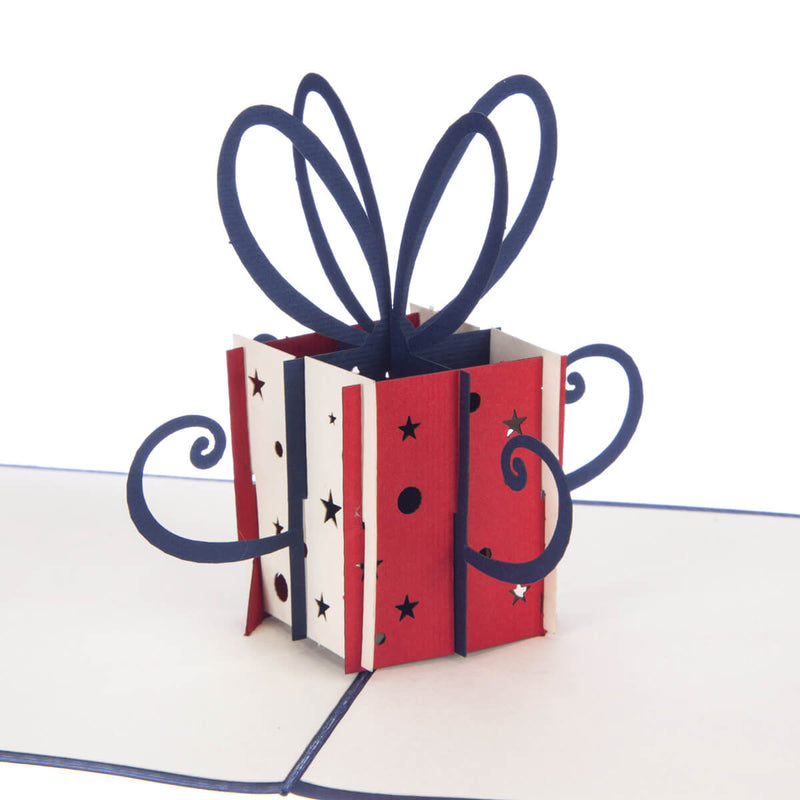 Red Birthday Present Pop Up Card