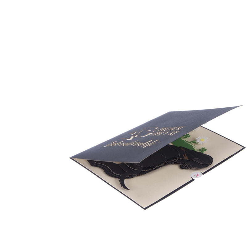 Image of Black Labradors Pop Up Card slightly open at 45 degrees on a white background