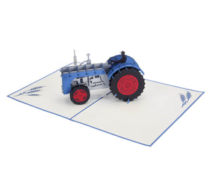 Fordson tractor inspired Blue Vintage Tractor Pop Up Card fully open at 180 degrees