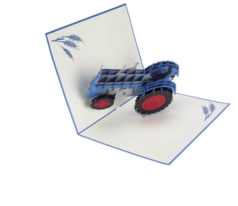 Fordson tractor inspired Blue Vintage Tractor Pop Up Card half open at 90 degrees