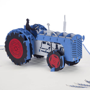 Close up image of fordson inspired Blue Vintage Tractor Pop Up Card