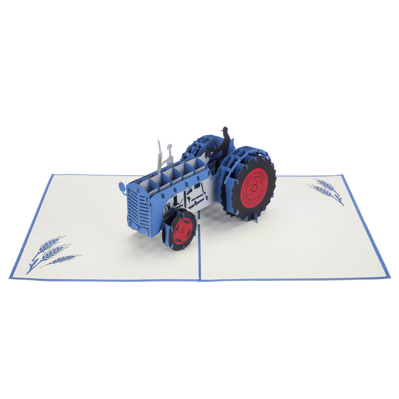 Fordson tractor inspired Blue Vintage Tractor Pop Up Card fully open