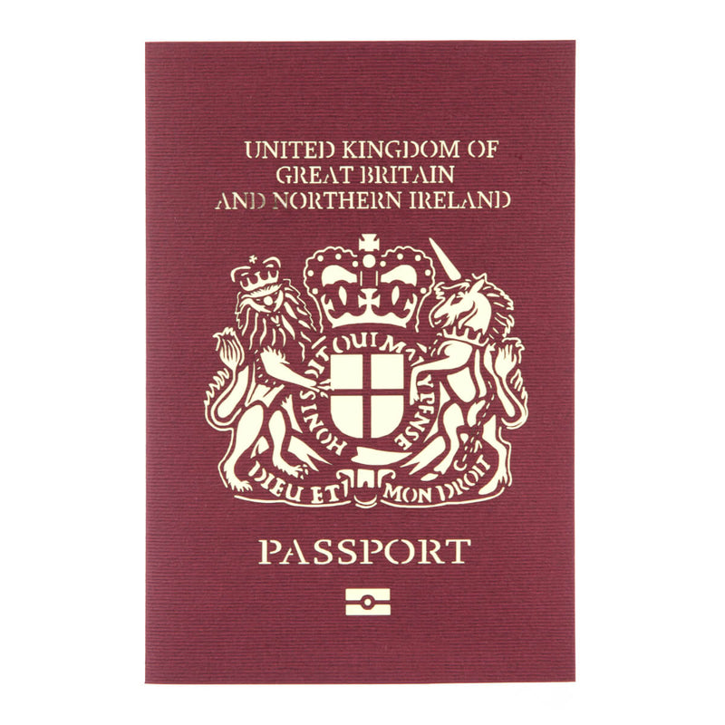 bon voyage pop up card cover which looks like a replica of a British Passport