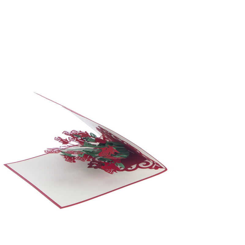 3D roses card featuring a pop up bunch of red roses for Valentine's Day, slightly open at a 45 degree angle