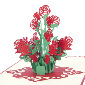 Close up image of pop up card featuring a bunch of roses